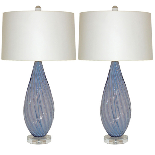 Almond Shaped Vintage Murano Opaline Lamps of Lavender