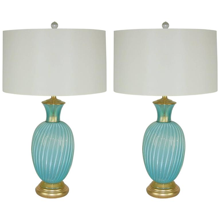 Murano Vintage Glass Table Lamps By Seguso Blue Gold Swank Lighting