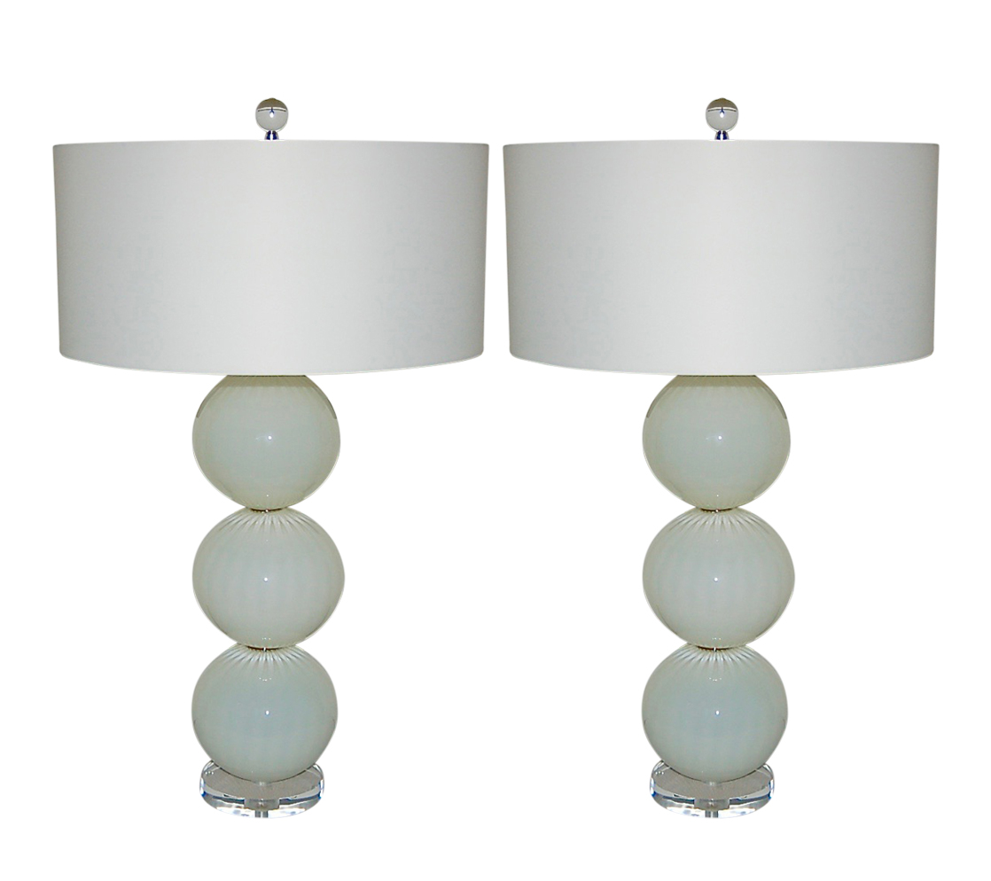 Picture of: Joe Cariati Hand Blown Glass Table Lamps White Swank Lighting